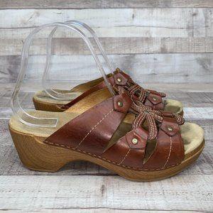 Dansko Serena Brown Leather Heel Sandals Size 39